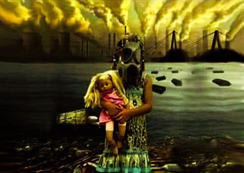 Child in a dress and wearing a gas mask while holding doll. The back ground is pollution filled.